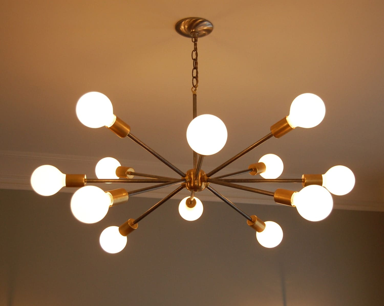 Midcentury sputnik inspired chandelier by southernlightstn on etsy 12 large frosted light bulb globes available separately look stunning in this chandelier aloadofball Images