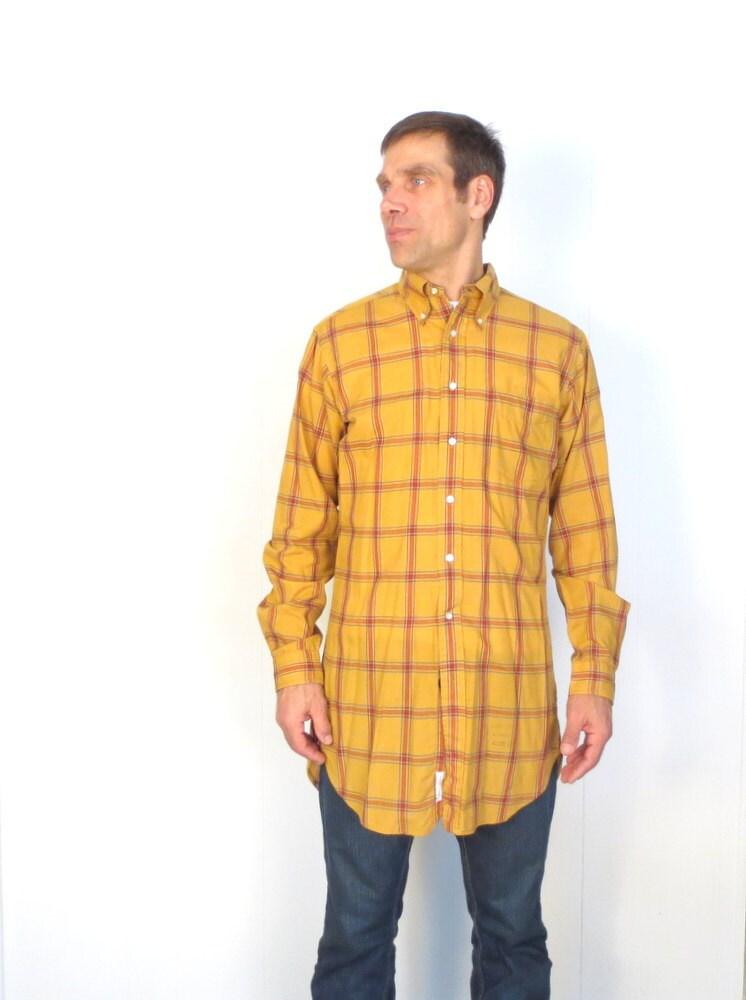 Men s plaid shirt vintage 1960s shirt mustard yellow men s