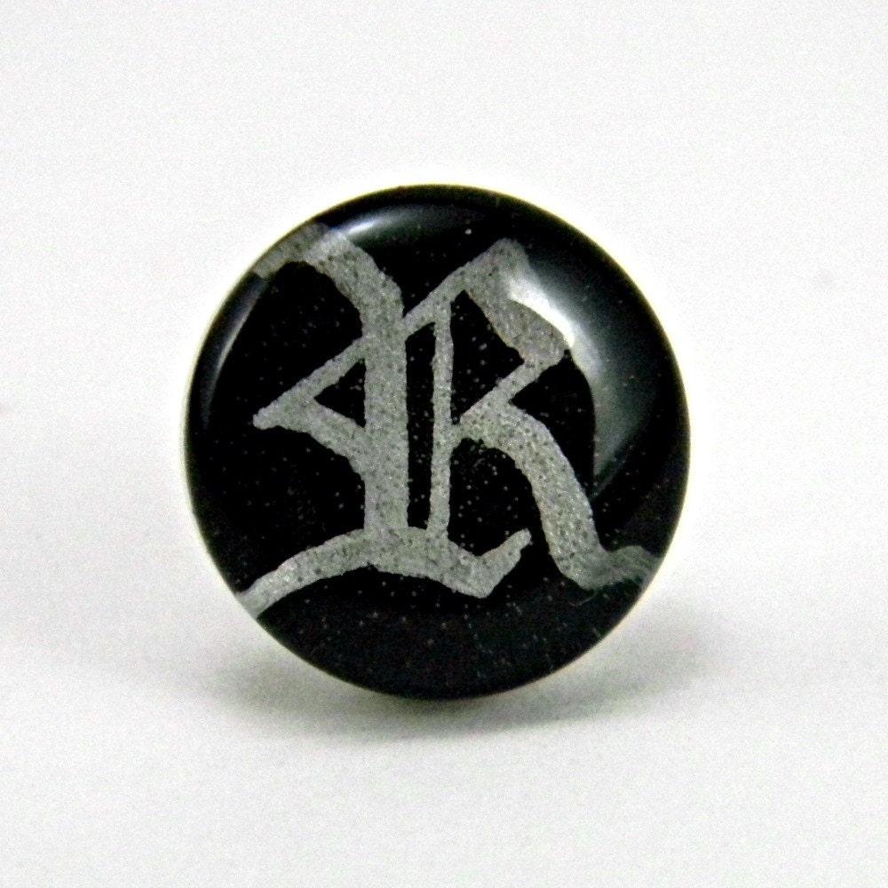 items similar to monogram tie tack custom personalized handmade silver gothic initial lapel pin
