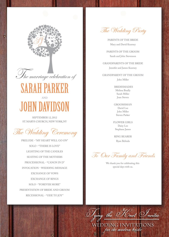 Printable Wedding Program DIY Beautiful By Tyingtheknotinvites