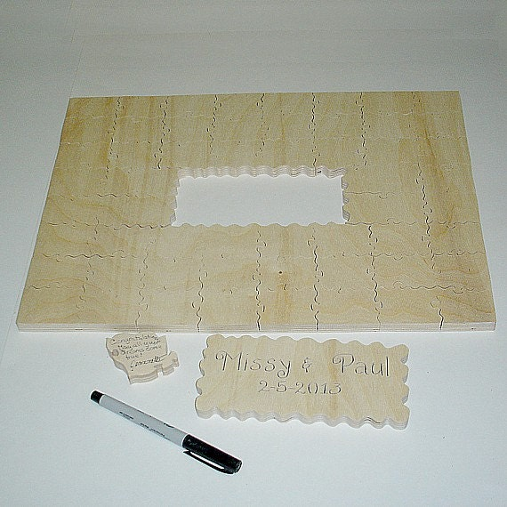 wedding guest book puzzle rectangle unfinished 40 by