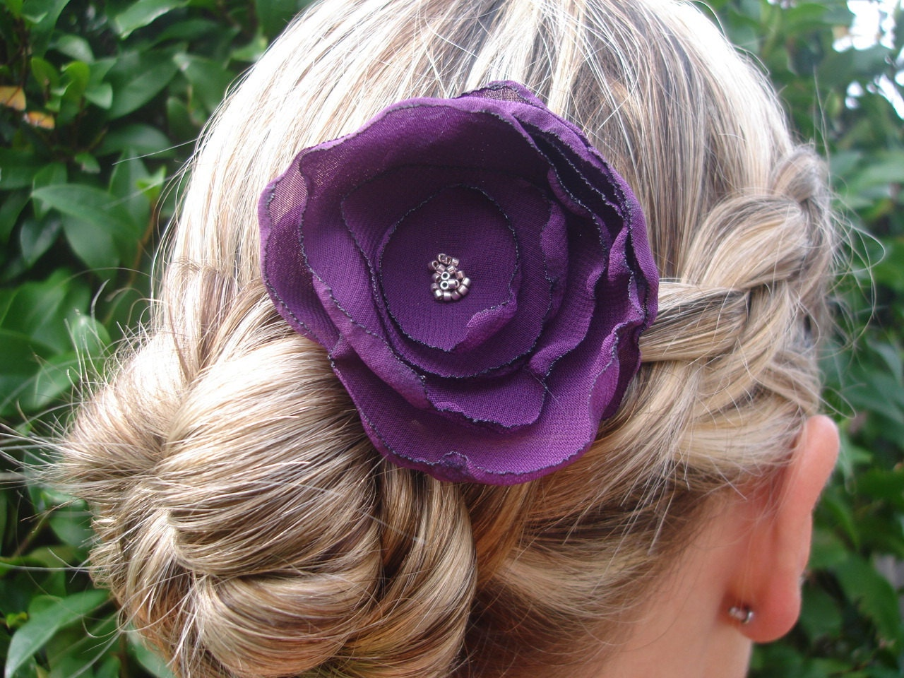 Purple Hair flower clip - Bridal Collection Style 018