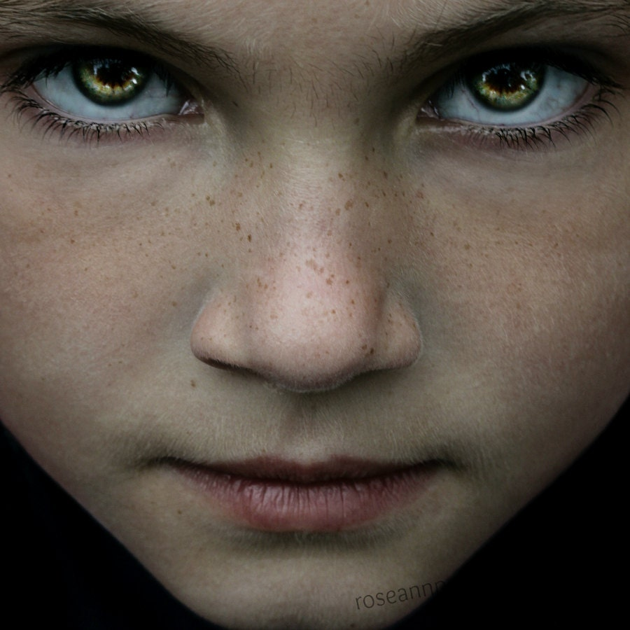 """See Me, 8x8"""", Portrait of a Child, Dark, Eyes, Gold, Green, Sublime, Emotive..Fine Art Photography, Limited Edition..Home/Office Decor - FrameOnYou"""
