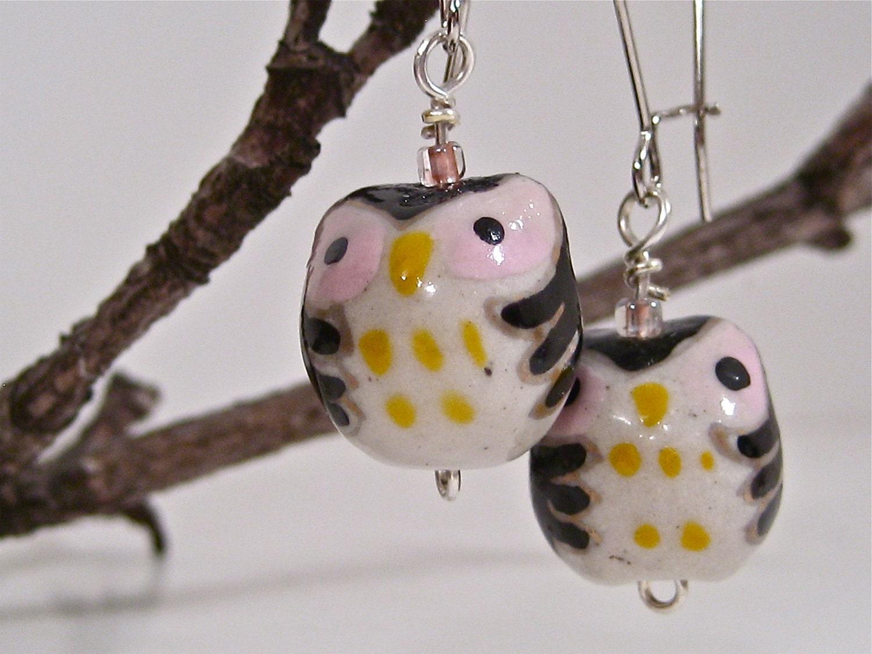 Black Owl Earrings - Kidney Wire
