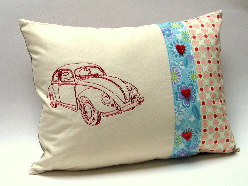 True Modern Pillows : Love My Bug Modern Patchwork Pillow with by shamsandcoverups