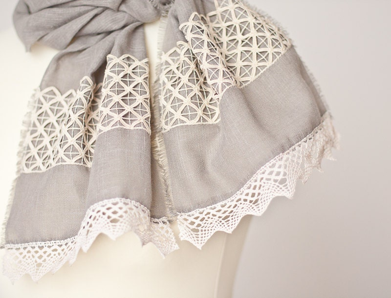 Linen Scarf Vintage French Lace Eco Friendly Natural Gray Beige summer boho neutral OOAK dtteam elitett tbteam teamcamelot - frenchfelt
