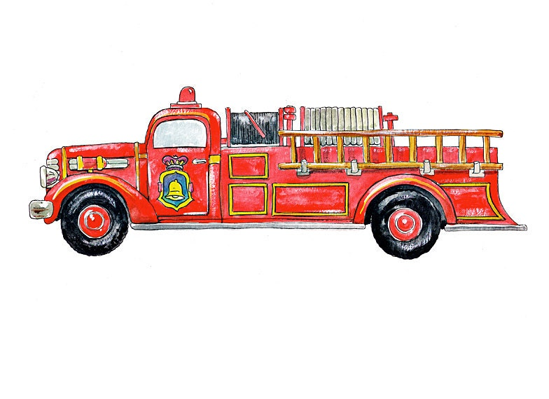 "Vintage Fire Truck vehicle watercolor print, 8x10"""