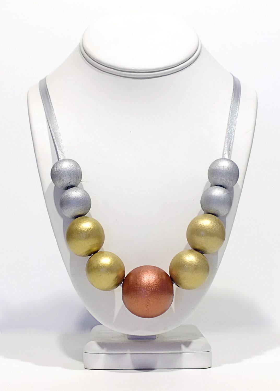 Metallic Wooden Bead Necklace - Heavy Metal - Silver Copper Gold Wood Necklace Statement Necklace - GildedGirlDesigns