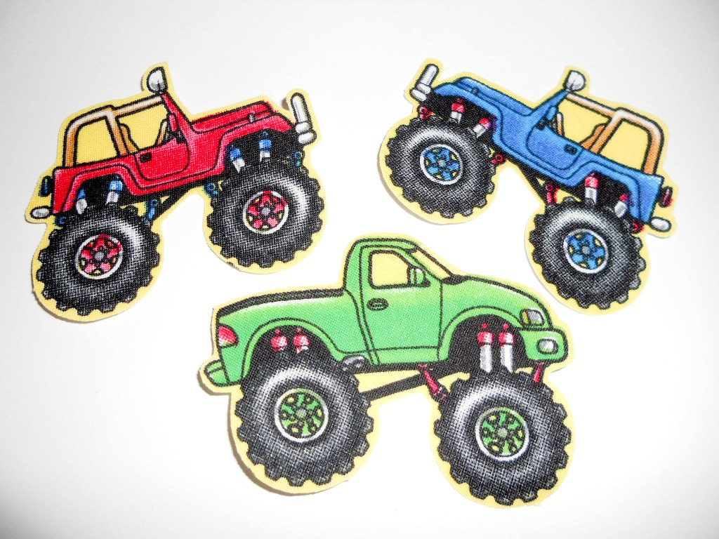 Monster truck fabric iron on appliques d by twocraftykids for Monster truck fabric