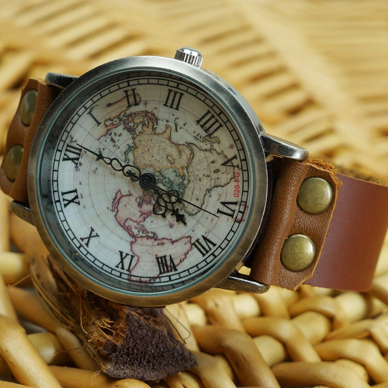 World Map Watch Leather Jewelry Gift by leatherwrapwatches on Etsy