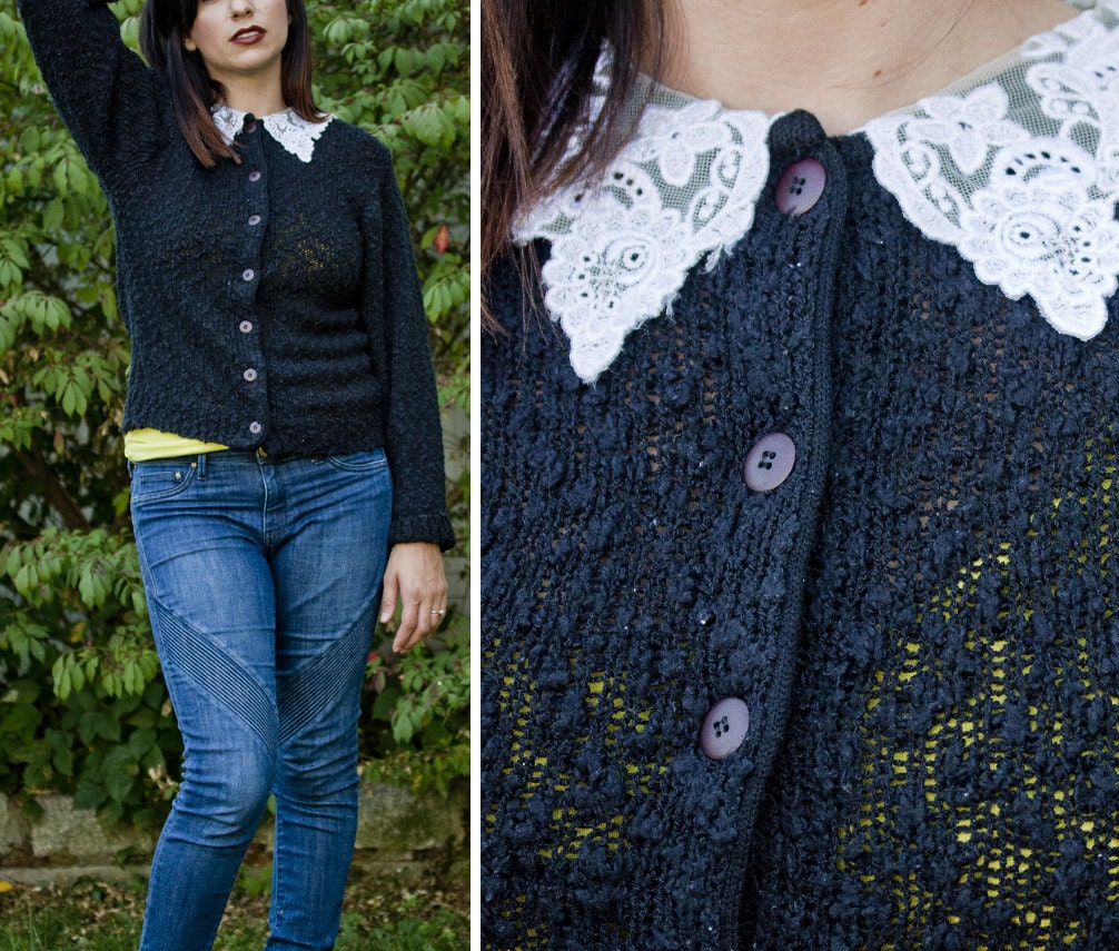 Vintage 80s 90s CHUNKY Knit CARDIGAN Lace Peter Pan Collar - DollDizzyVintage