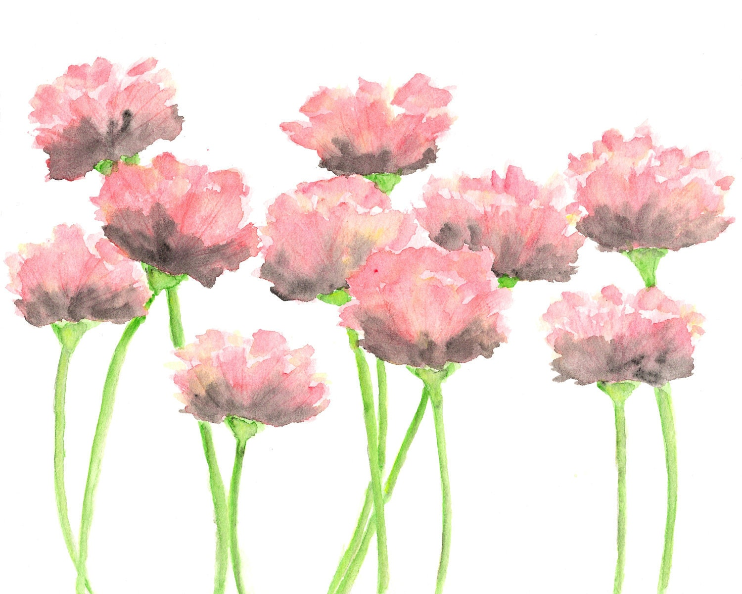 Nature watercolor flowers painting pink poppies by ThimbleSparrow