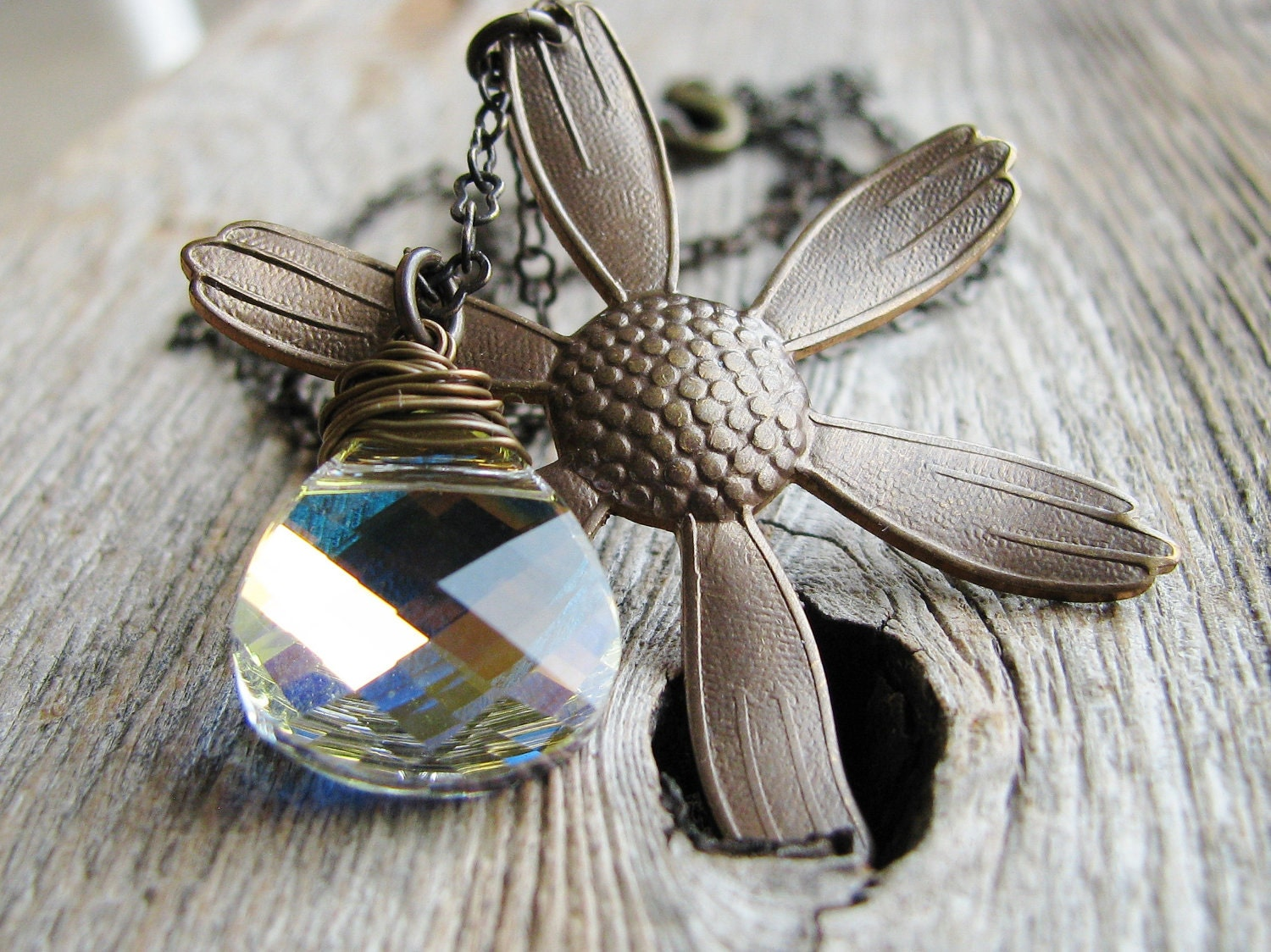 Daisy Necklace Botanical Jewelry Daisy Pendant Crystal Briolette Antique Brass
