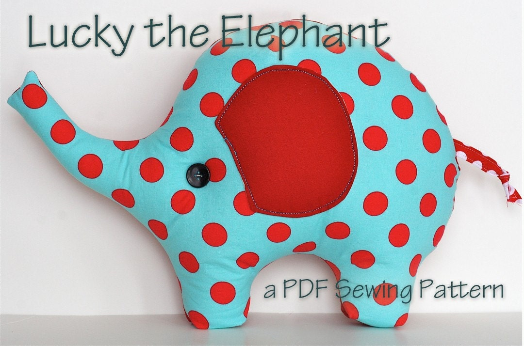 Cute Pillow Sewing Patterns : Elephant Pillow Plush Sewing Pattern Lucky the Elephant by ginia18
