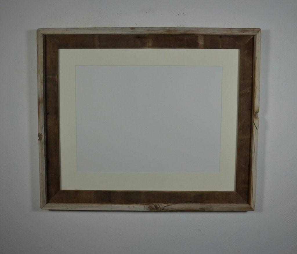 16x20 Weathered Wood Picture Frame With 12x16 Mat By