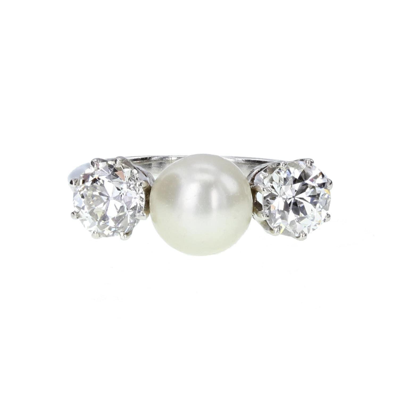 Antique Pearl and Diamond Three Stone Ring in Platinum