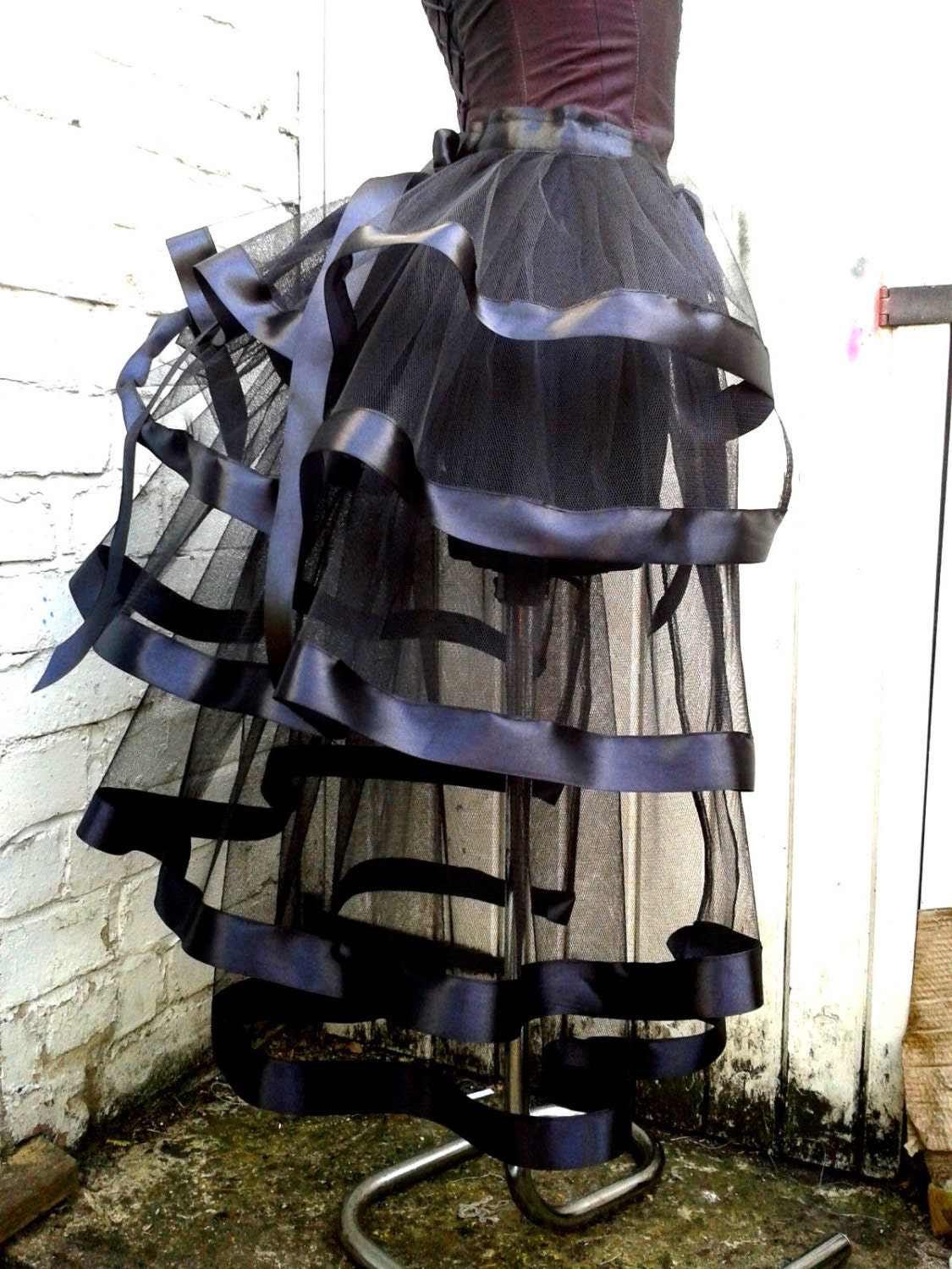 Black bustle skirt with black ribbon tutu Gothic Burlesque Hen Party fancy dress Whitby show girl Prom wedding