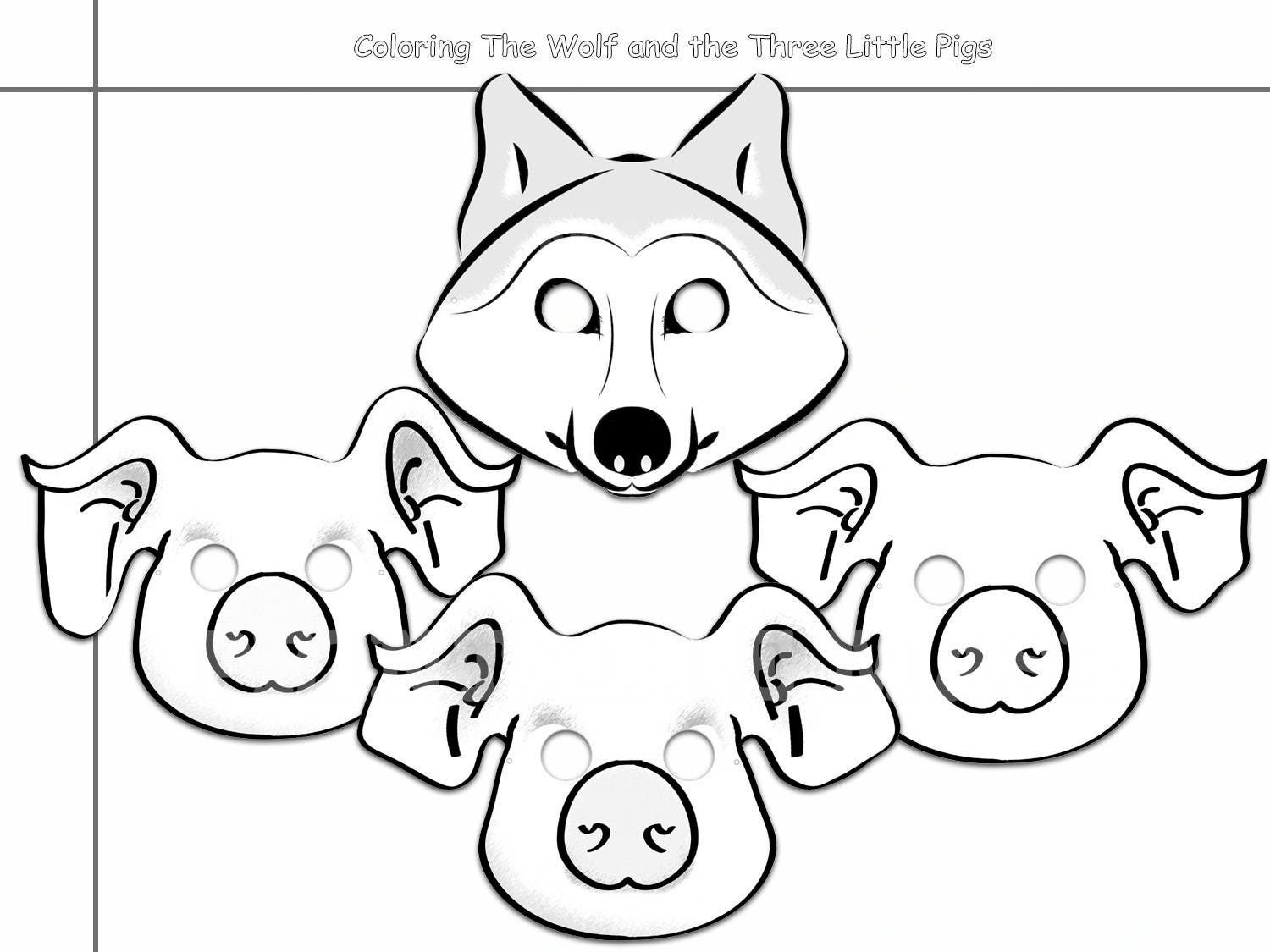 Three little pigs wolf black and white