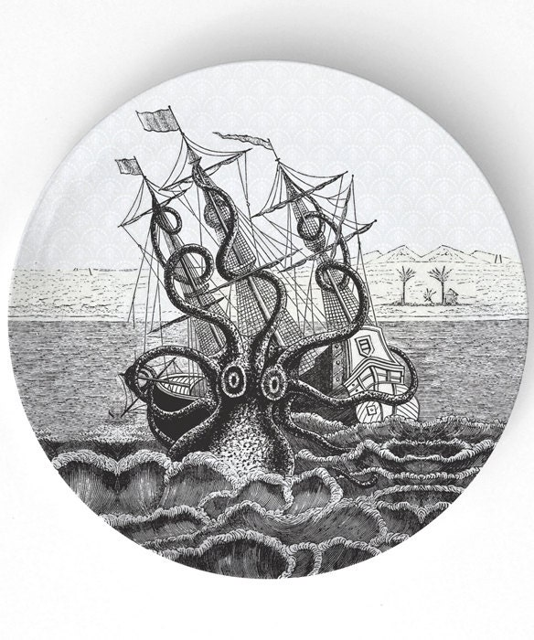 Octopus shipwreck  -  vintage engraving on a 10 inch Melamine Plate - TheMadPlatters
