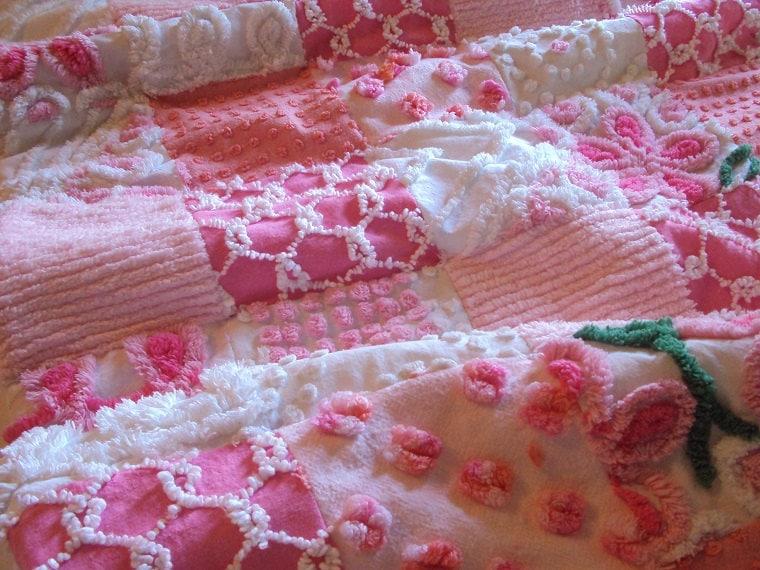 vintage chenille patchwork quilt eBay
