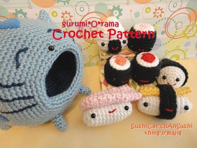 crochet pattern amigurumi Sushi Cat PDF guide FotoFuze