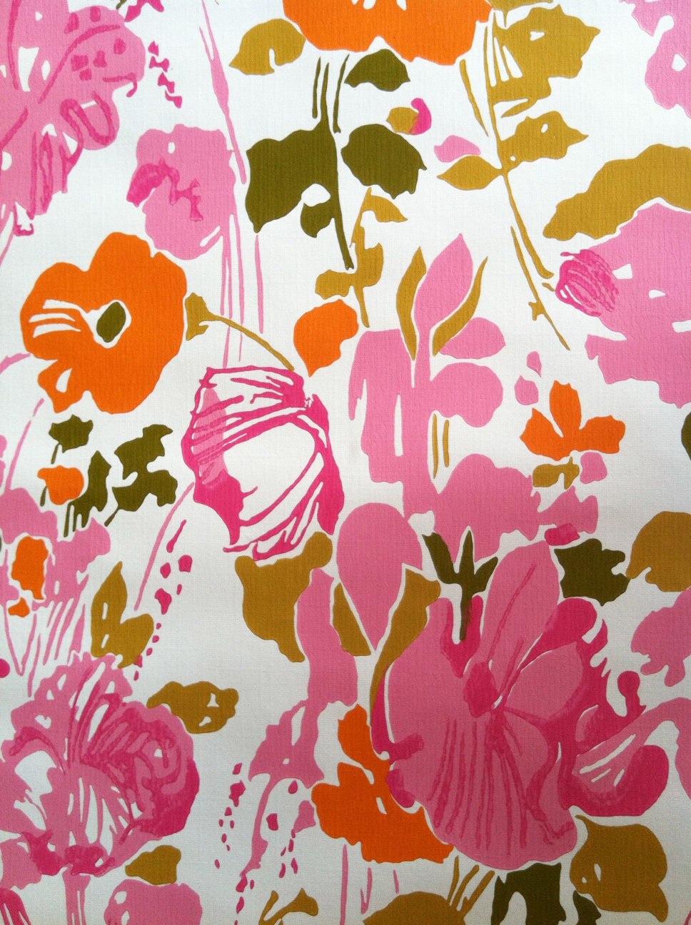 Vintage 1960s Wallpaper-Whimsical Pink Poppies-by the yard