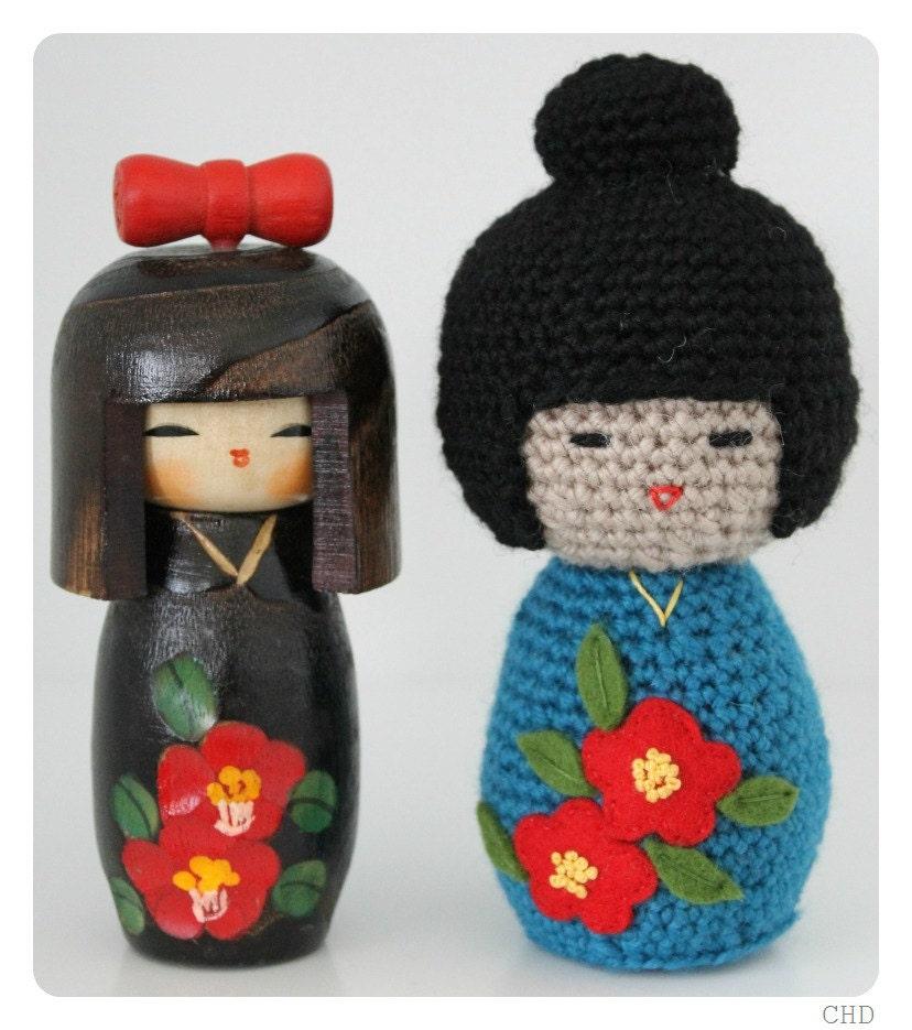Japanese Amigurumi Doll Patterns : Amigurumi Japanese Kokeshi Doll With Bun Crochet by CHDshop