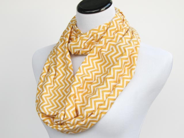 Chevron Infinity scarf zigzag yellow white stripes scarf - circle scarf loop scarf gift idea for her gift for mom - HappyScarvesByLesya