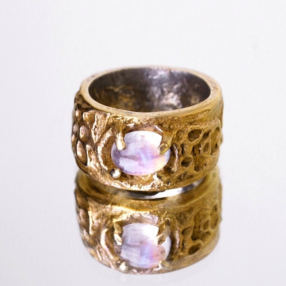 rainbow moonstone sculpted statement ring unique by blagerberg