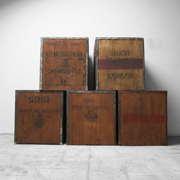 Vintage Tea Chest Trunk Box Crate London Transport Storage Side Table Display Shop Window
