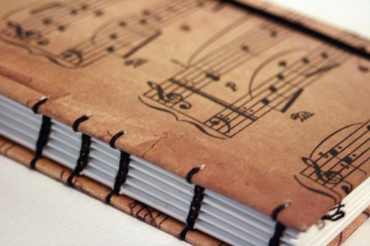 Sheet Music Notes Book Cover Travel Journal By BoundbyTradition