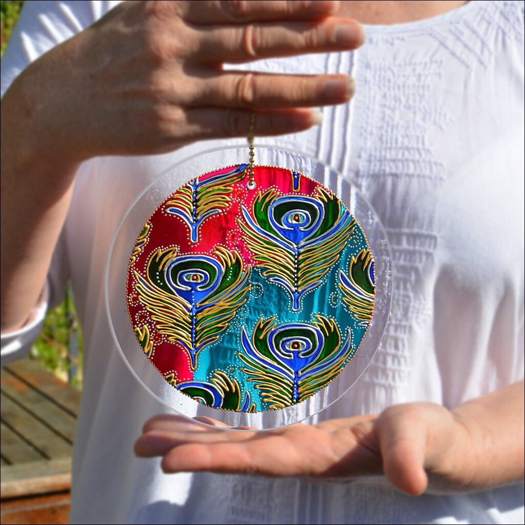 Peacock Feather Hanging Suncatcher  Window Light Catcher  Hanging Garden Ornament  Hand Painted Glass Circle Sun Catcher  Summer Gift