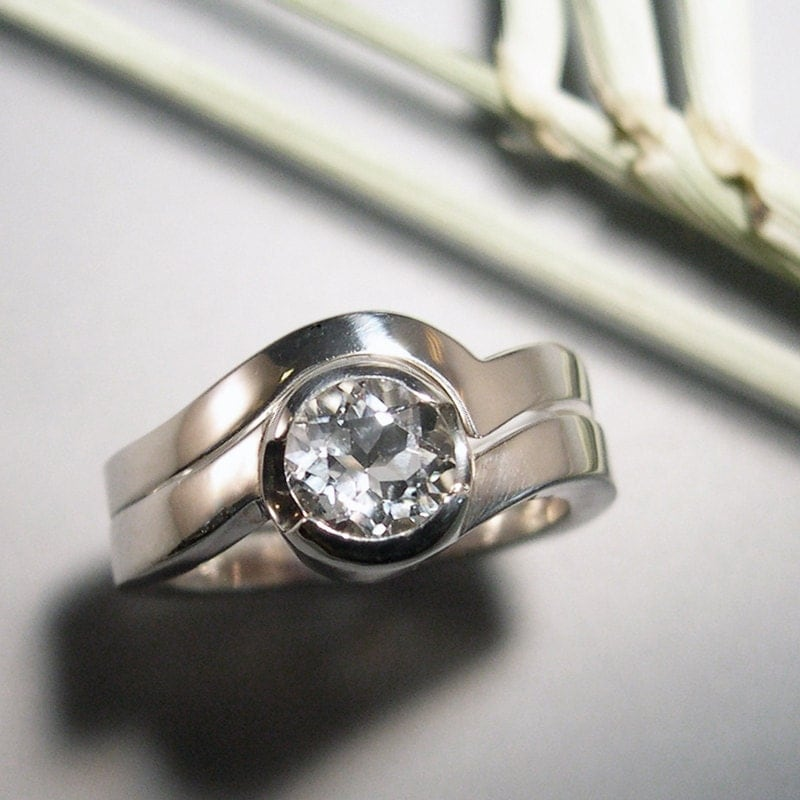 wedding set engagement ring white topaz by chrismuellerjewelry
