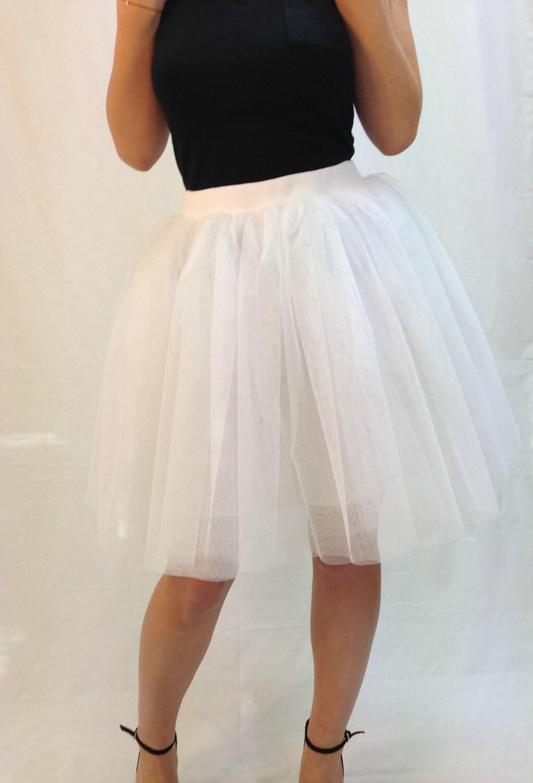 white tulle skirt knee length tutu skirt by