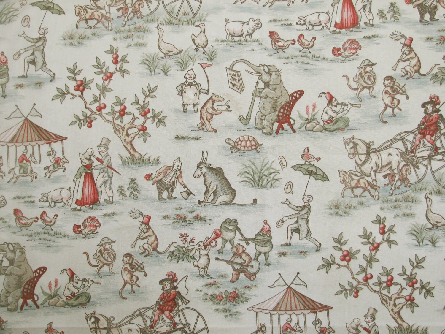 Covington Topsy Turvy Sage Toile Decorator Fabric By