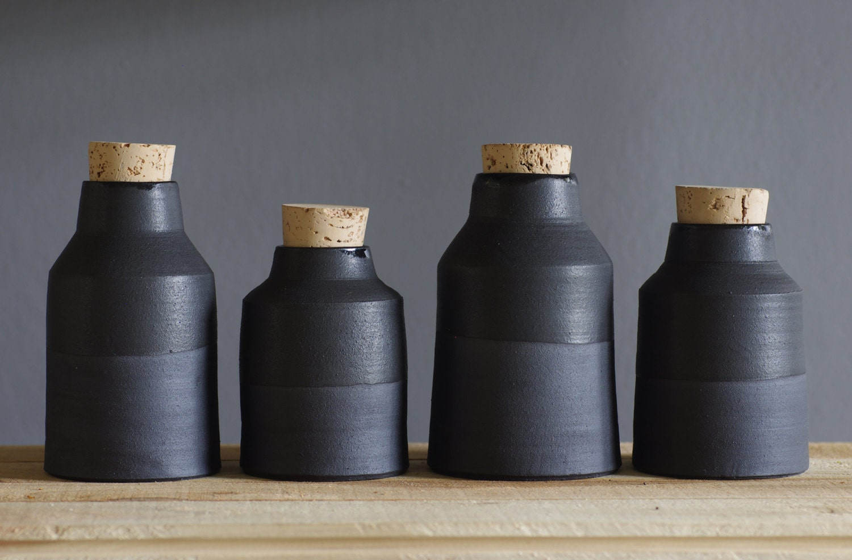 3 black bottle / vase set - matte black stoneware clay. modern minimal pottery ceramic - vitrifiedstudio