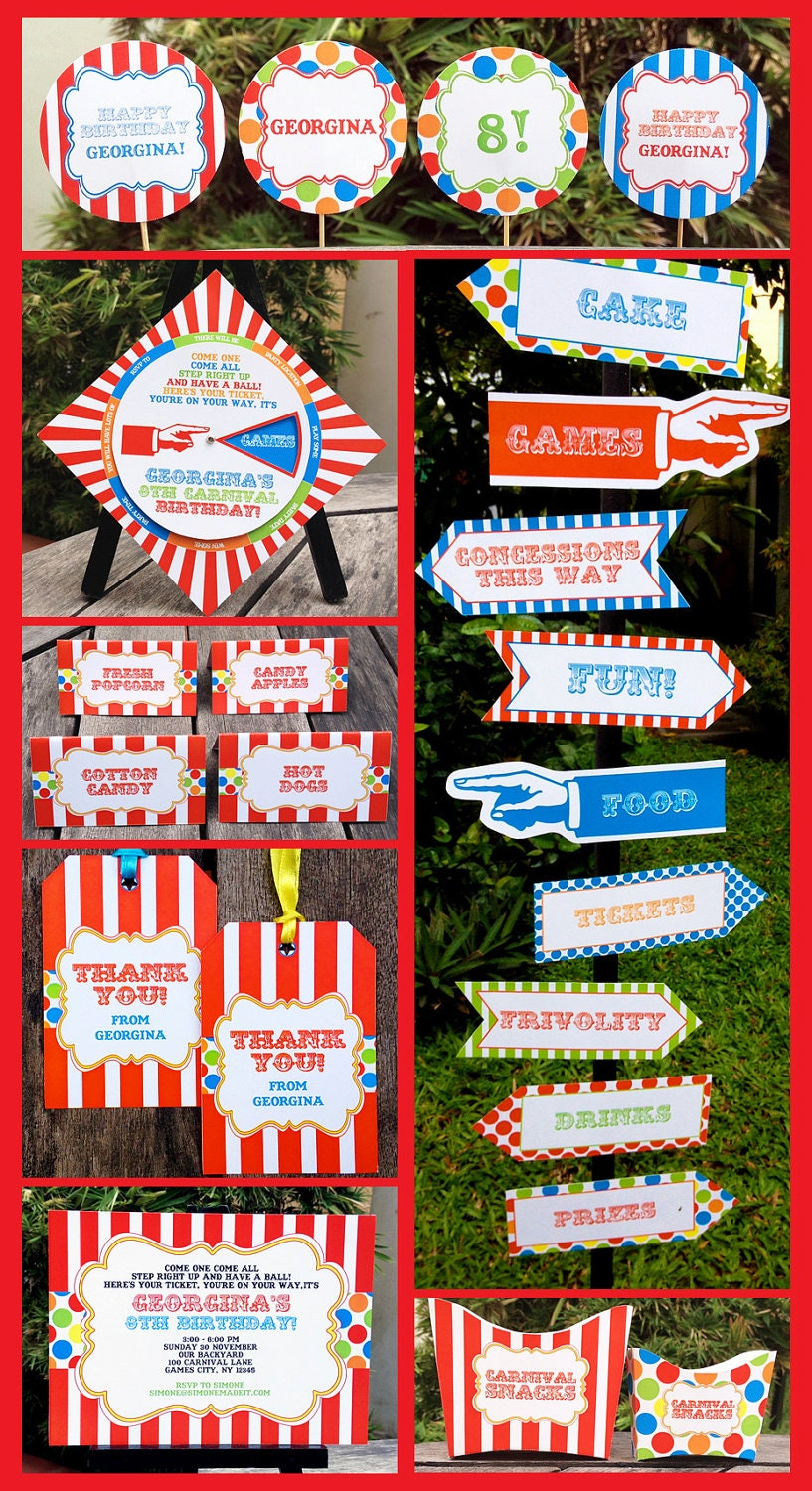carnival party circus party invitations amp by simonemadeit