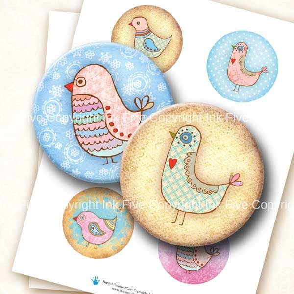 Bird Party 2.5 inch circles digital collage sheet. Round images for 2.25 inch pocket mirrors. Birds download graphics. Whimsical characters. - InkFive