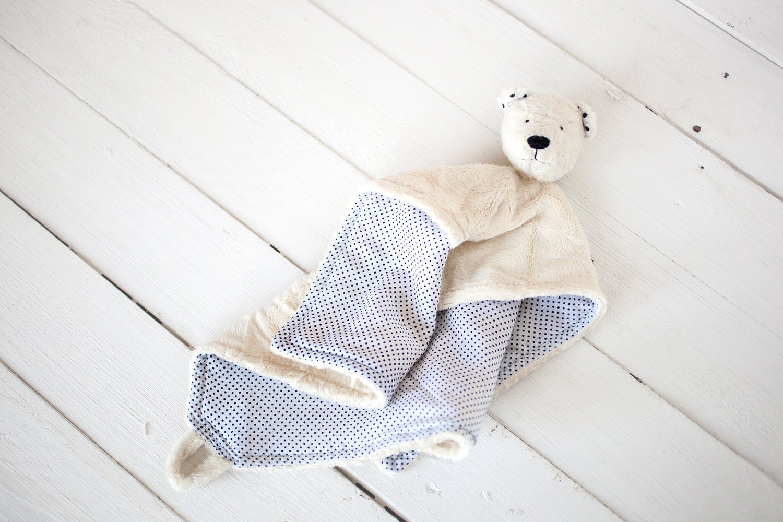 "Very soft Security Blanket - First teddy bear - Baby Toy - 12"" x 12"" - SoftlyBearPaw"