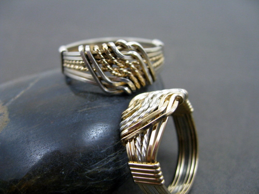 Harmony - Couple's Wire Wrapped Rings, Gold and Silver, Made to Measure, RiverGum Jewellery