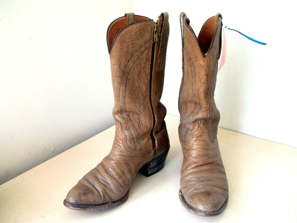 vintage lucchese brand cowboy boots size 10 by