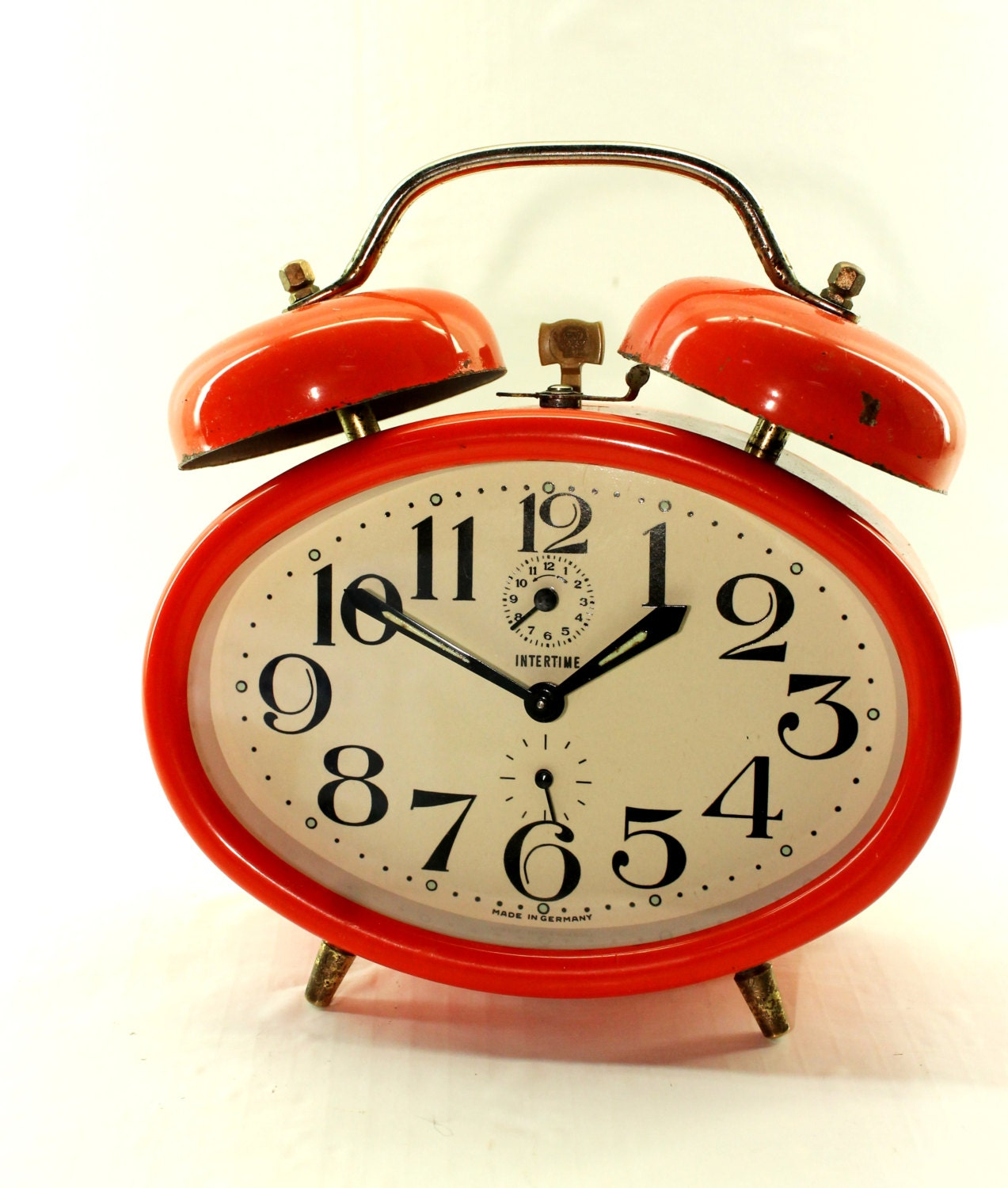 Red Alarm Clock Wind Up Alarm Clock by by HobartCollectables