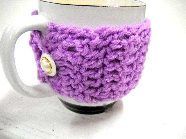 Crochet Mug Cozy, Radiant Orchid Coffee Cup Cozy, Oversized Mug Cozy - StitchKnit