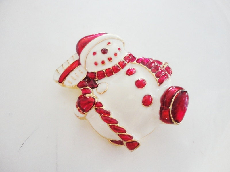 vintage Christopher Radko Christmas red and white enamel  Snowman pin brooch