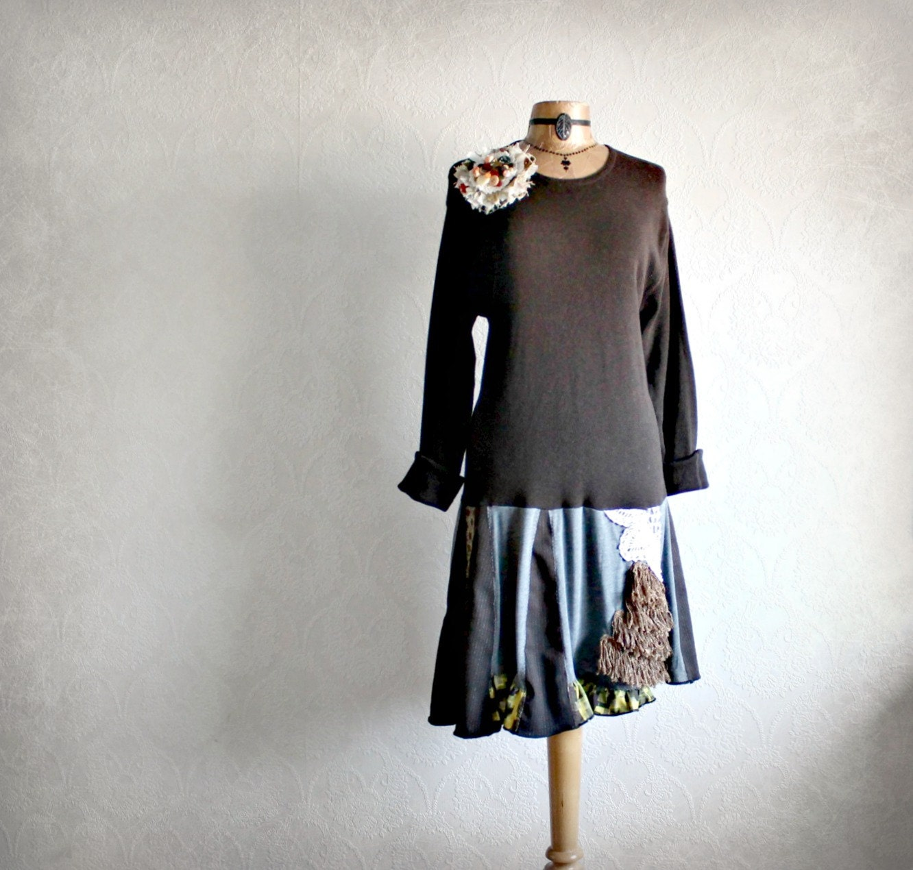 Rustic Brown Upcycled Tunic Shirt Shabby By