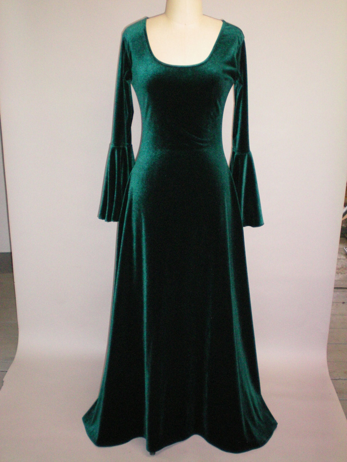 Medieval Renaissance Scoop Neck Dress Green By