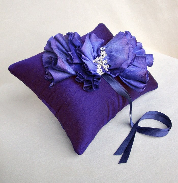 Purple Silk Ombre Ruffle Ring Bearer Pillow SAMPLE By