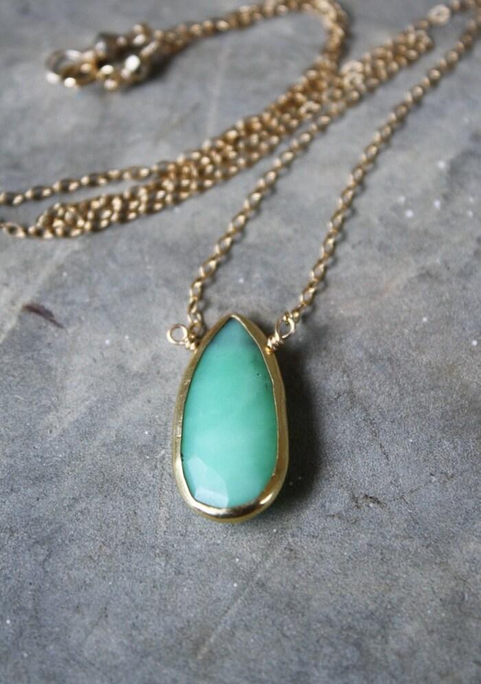 Natural Chrysoprase Bezel 14k Gold Filled Necklace