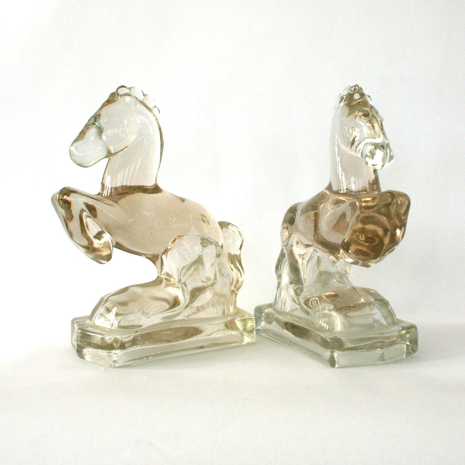 Vintage Glass Horse Bookends. Equestrian Men Centric Retro Mid Century Unisex Office Library Study