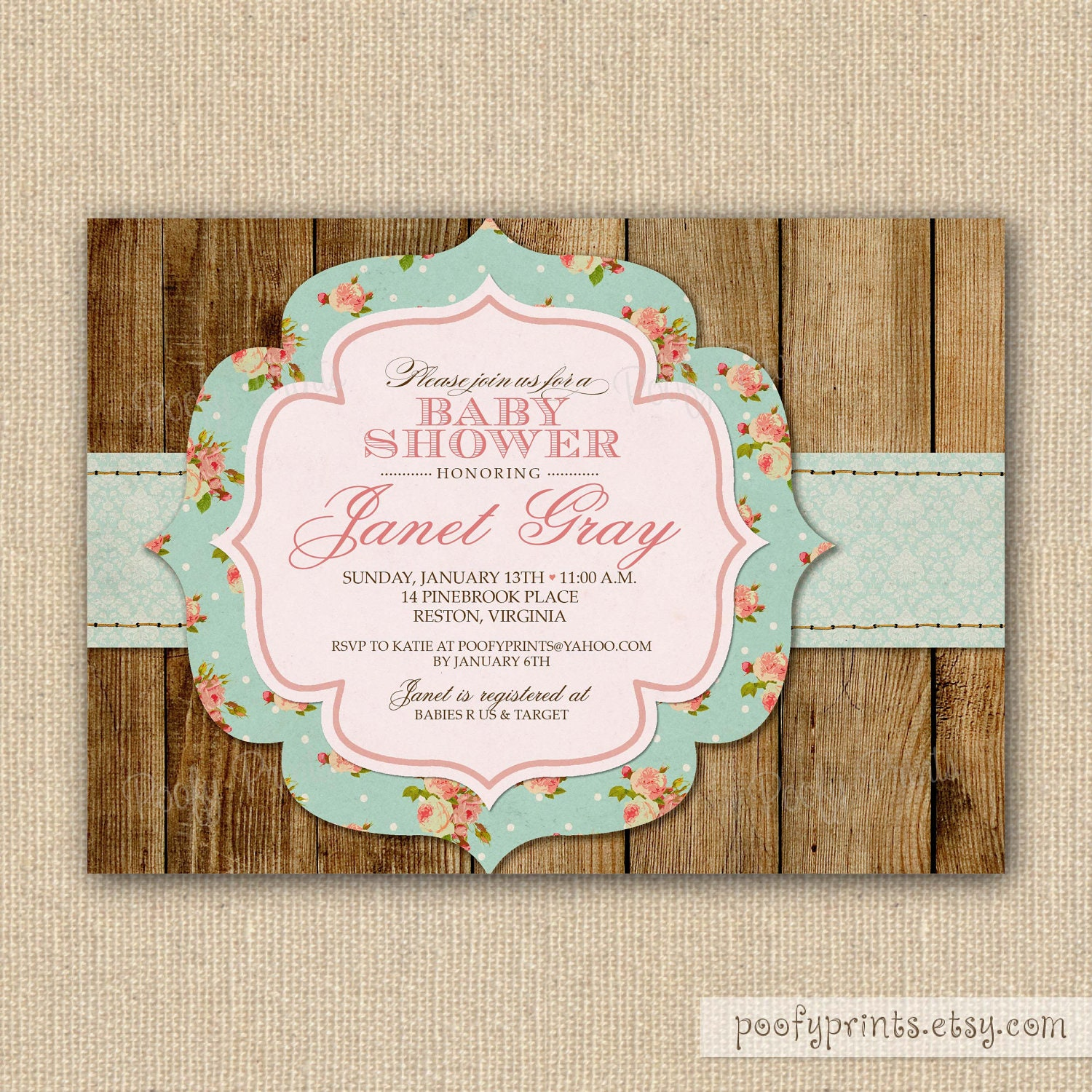 rustic shabby chic baby shower invitations diy by poofyprints